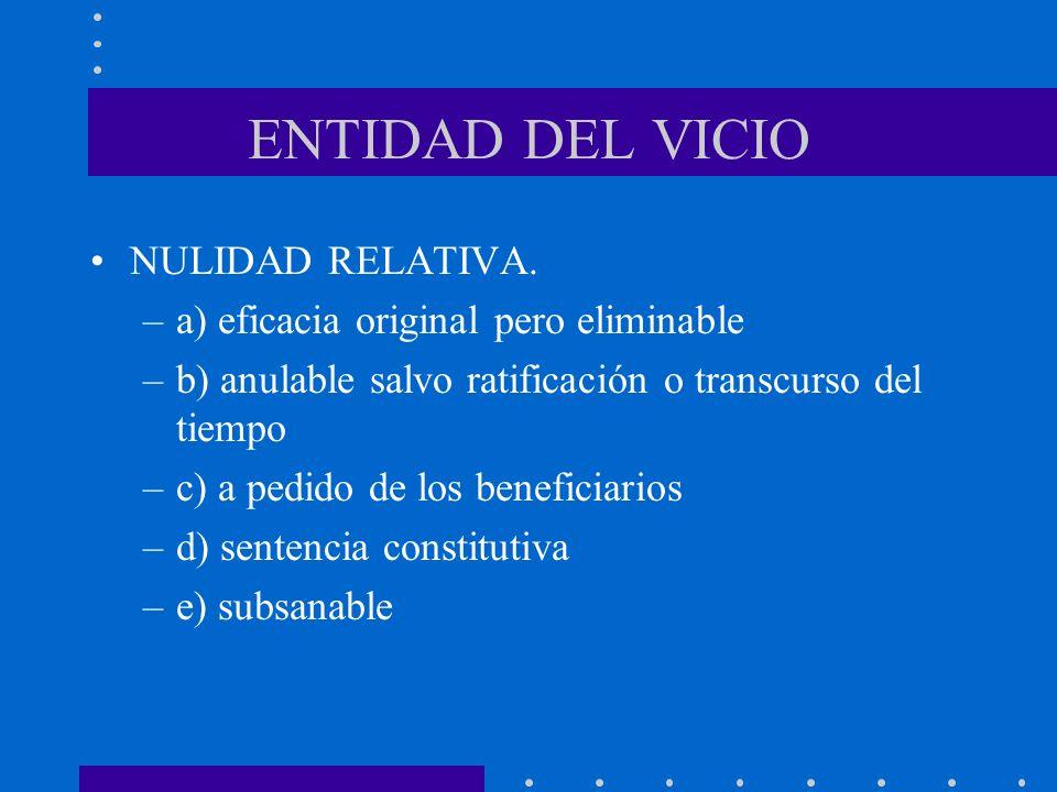 ENTIDAD DEL VICIO NULIDAD RELATIVA.