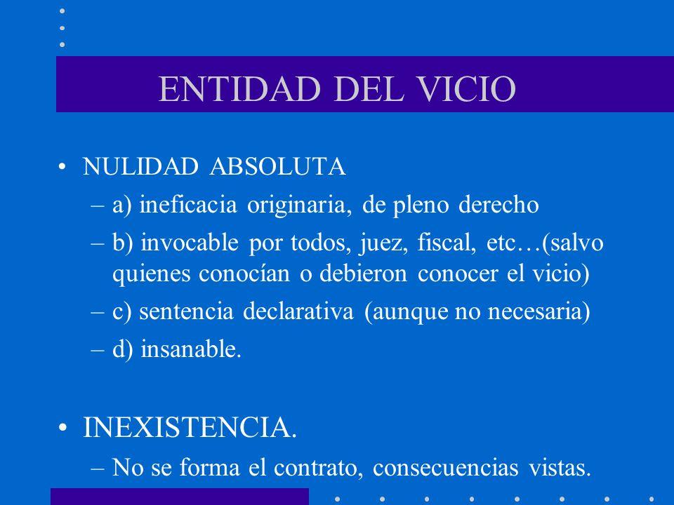 ENTIDAD DEL VICIO INEXISTENCIA. NULIDAD ABSOLUTA