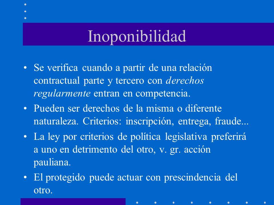 InoponibilidadSe verifica cuando a partir de una relación contractual parte y tercero con derechos regularmente entran en competencia.