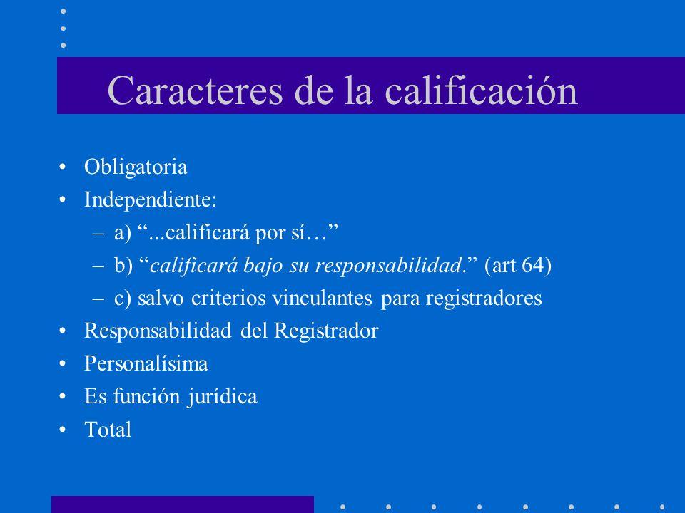 Caracteres de la calificación