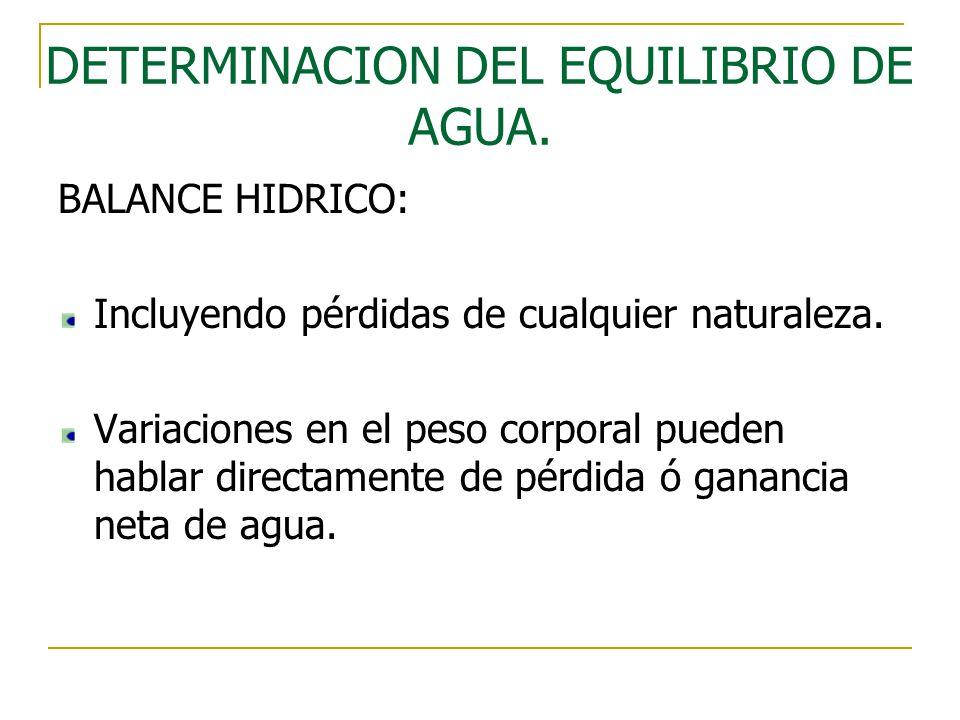 DETERMINACION DEL EQUILIBRIO DE AGUA.