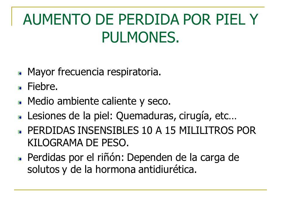 AUMENTO DE PERDIDA POR PIEL Y PULMONES.