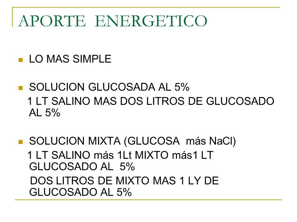 APORTE ENERGETICO LO MAS SIMPLE SOLUCION GLUCOSADA AL 5%