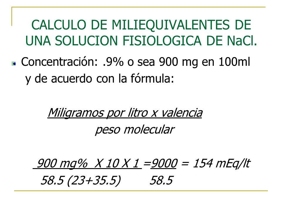 CALCULO DE MILIEQUIVALENTES DE UNA SOLUCION FISIOLOGICA DE NaCl.