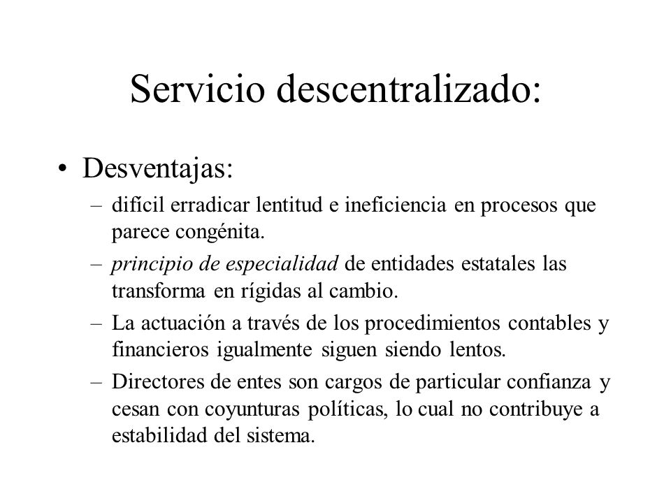 Servicio descentralizado: