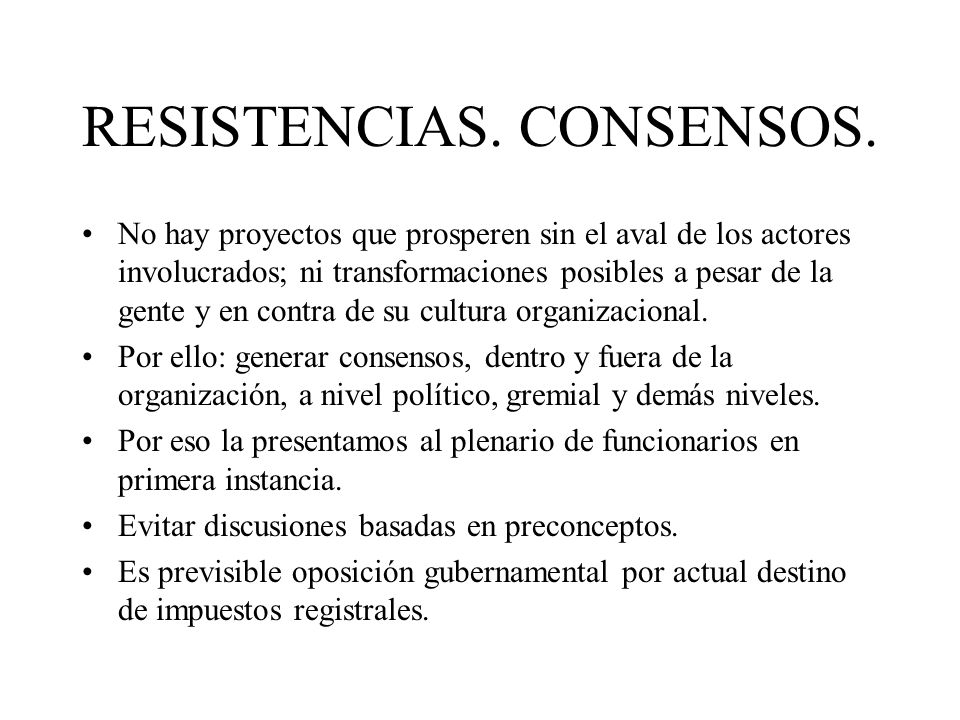 RESISTENCIAS. CONSENSOS.