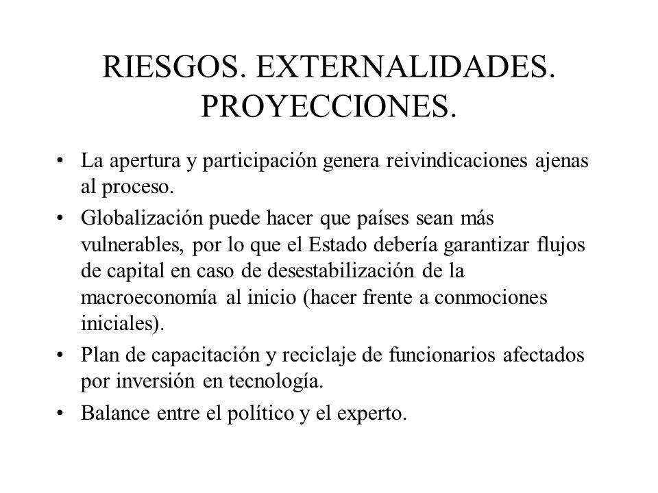 RIESGOS. EXTERNALIDADES. PROYECCIONES.