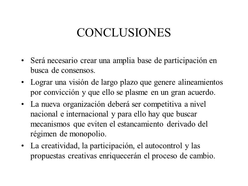 CONCLUSIONES Será necesario crear una amplia base de participación en busca de consensos.
