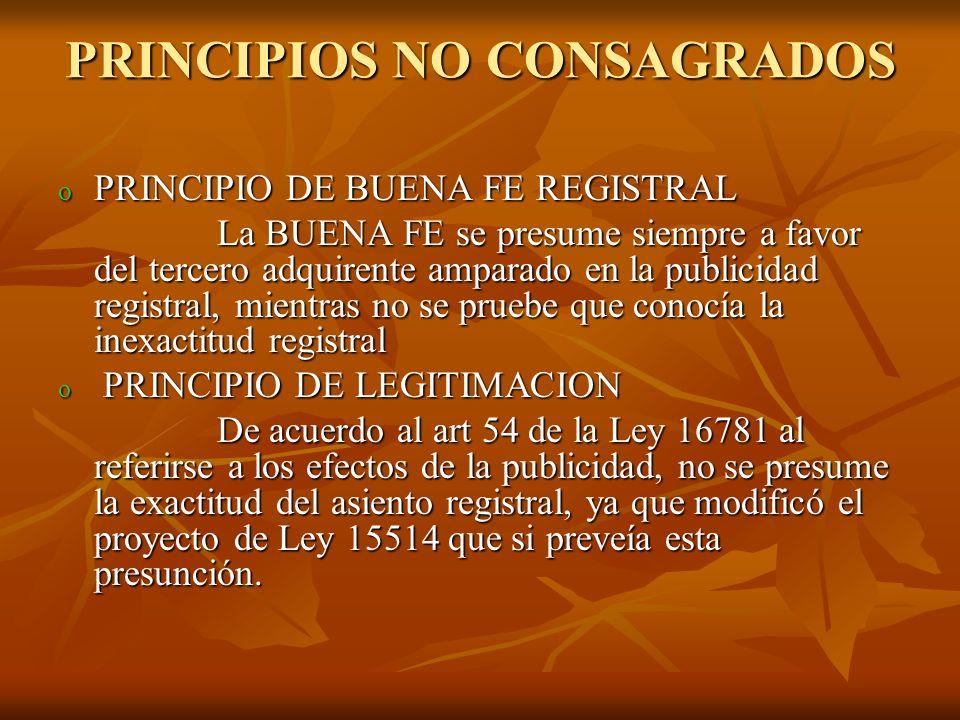 PRINCIPIOS NO CONSAGRADOS