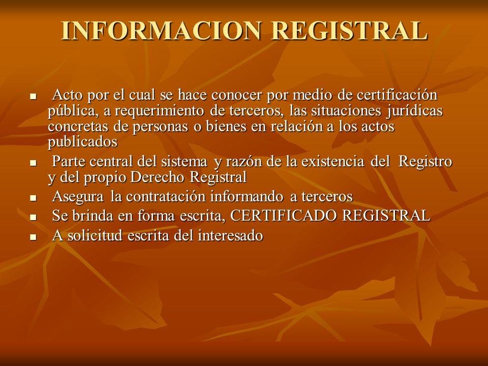 INFORMACION REGISTRAL