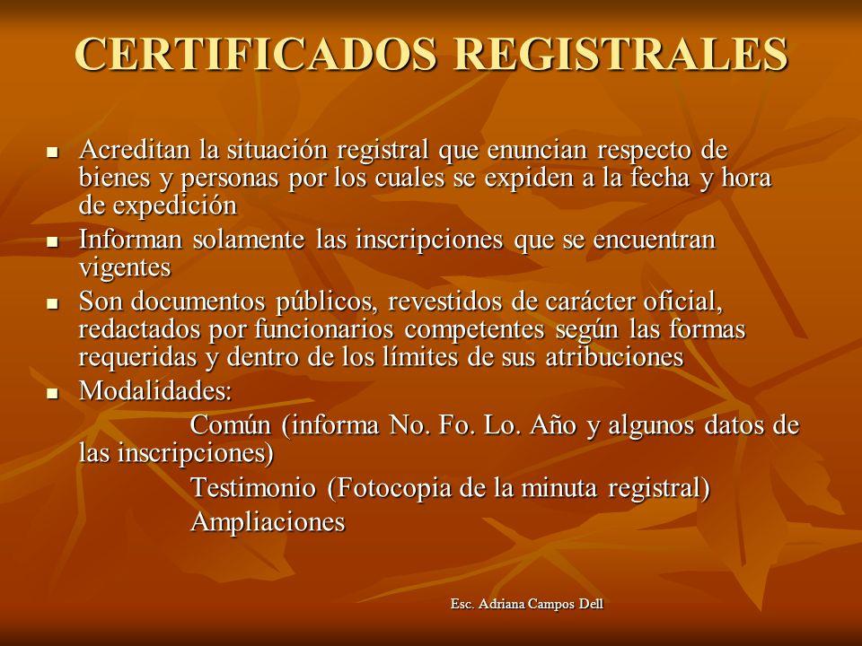 CERTIFICADOS REGISTRALES