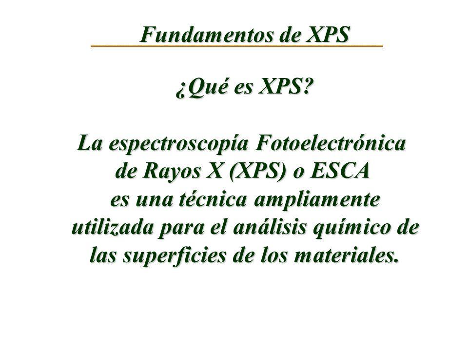 La espectroscopía Fotoelectrónica de Rayos X (XPS) o ESCA