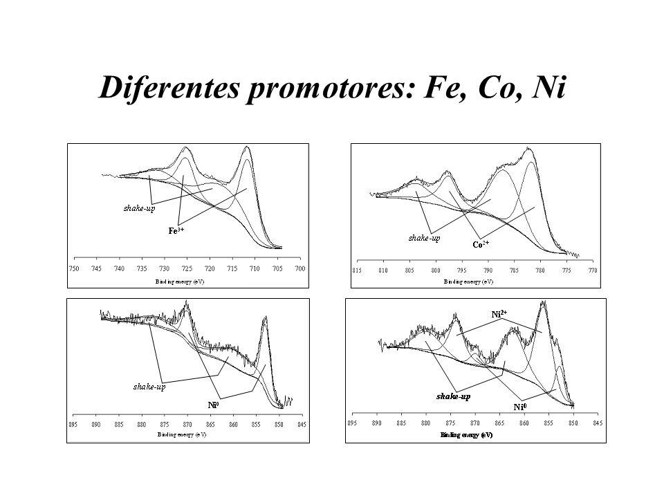 Diferentes promotores: Fe, Co, Ni