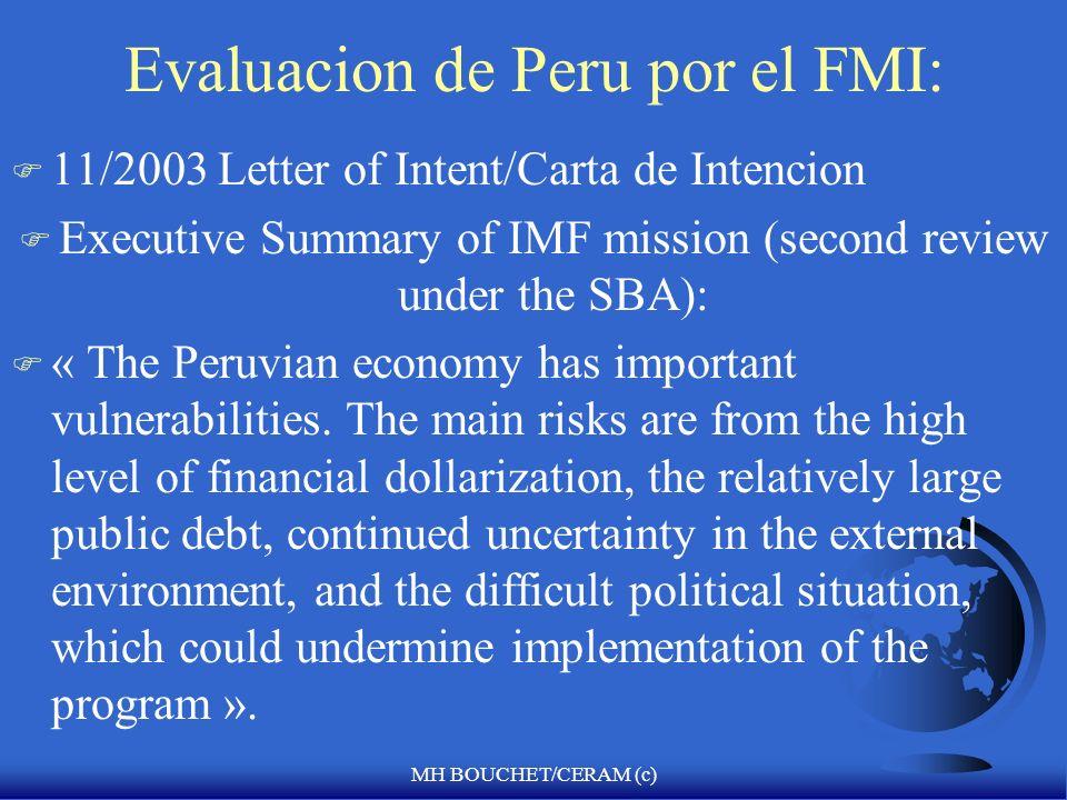 Evaluacion de Peru por el FMI: