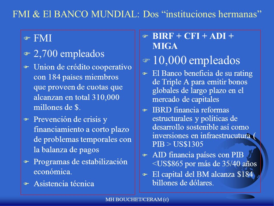 FMI & El BANCO MUNDIAL: Dos instituciones hermanas