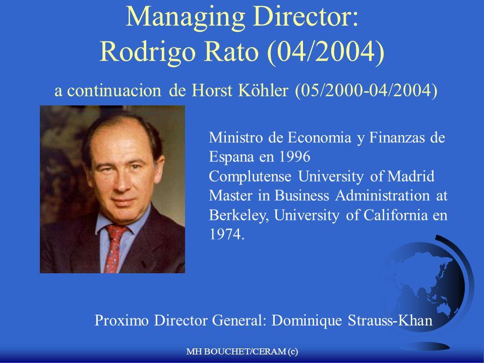 Managing Director: Rodrigo Rato (04/2004) a continuacion de Horst Köhler (05/2000-04/2004)