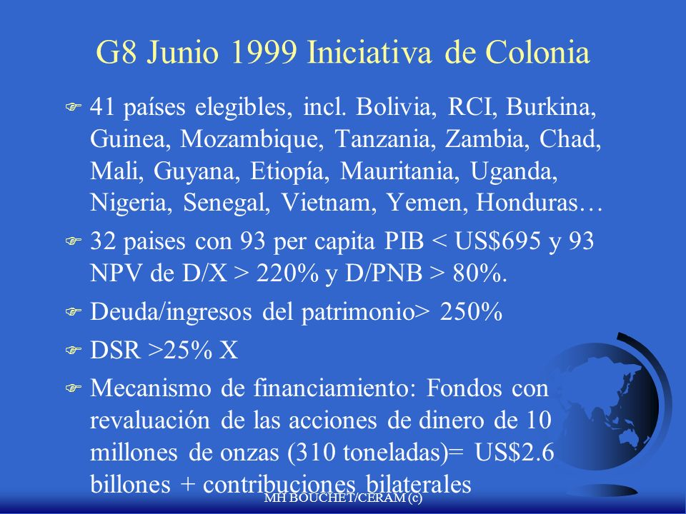 G8 Junio 1999 Iniciativa de Colonia
