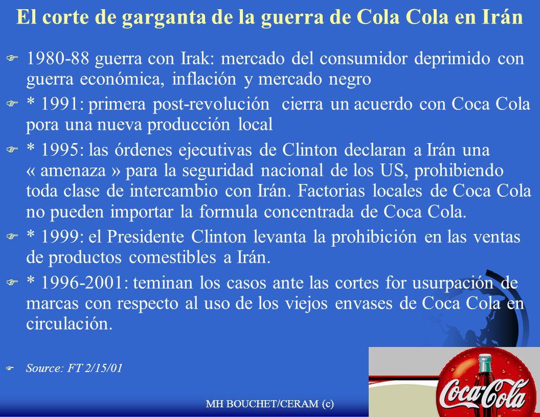 El corte de garganta de la guerra de Cola Cola en Irán