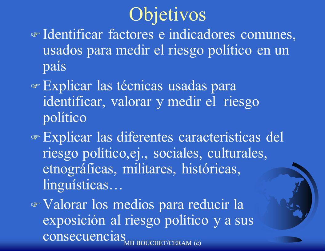 Objetivos Identificar factores e indicadores comunes, usados para medir el riesgo político en un país.