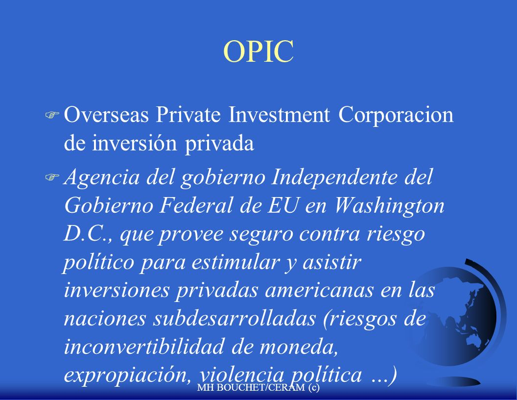 OPIC Overseas Private Investment Corporacion de inversión privada