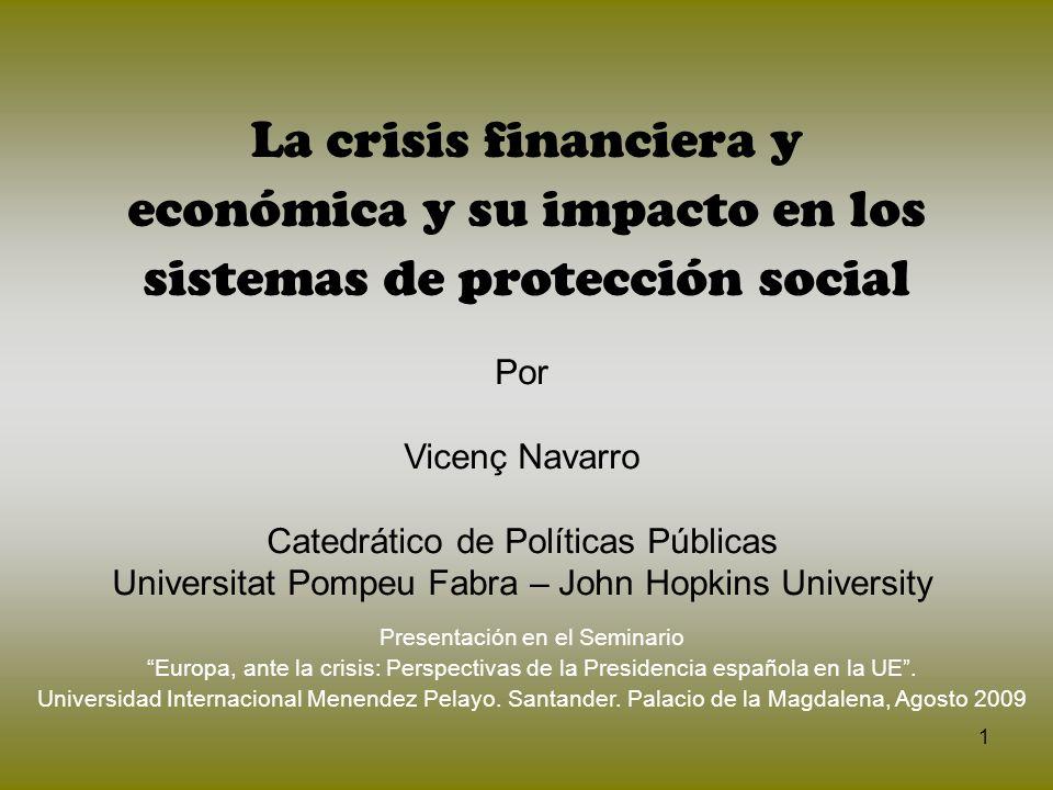 La crisis financiera y económica y su impacto en los sistemas de protección social