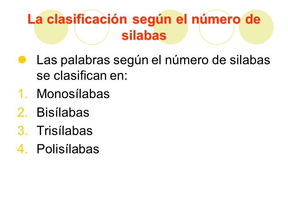 La clasificación según el número de silabas