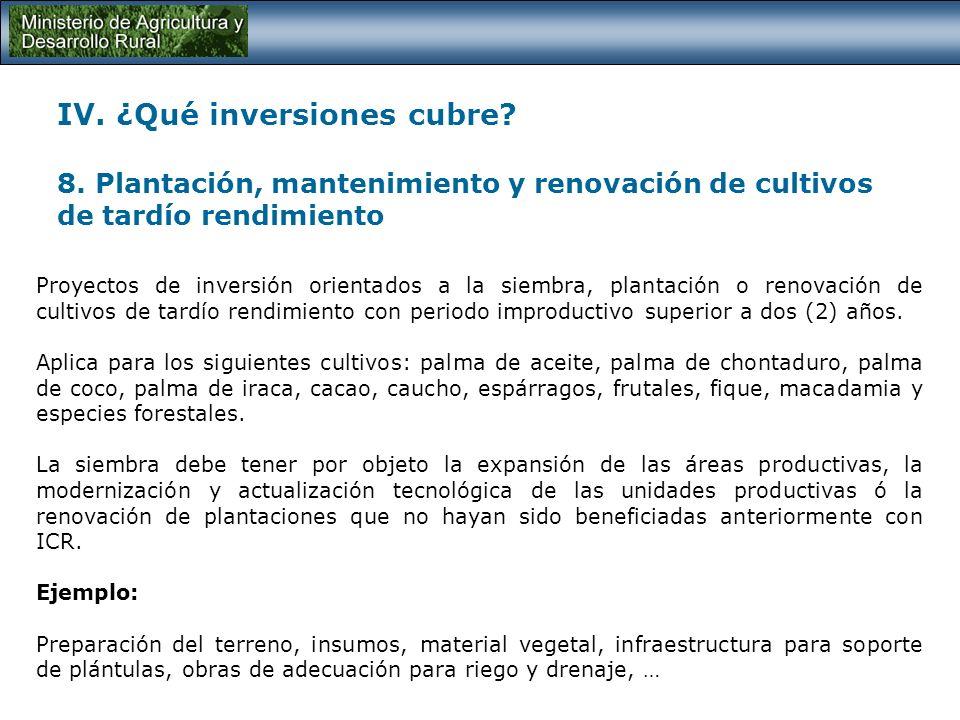 IV. ¿Qué inversiones cubre. 8