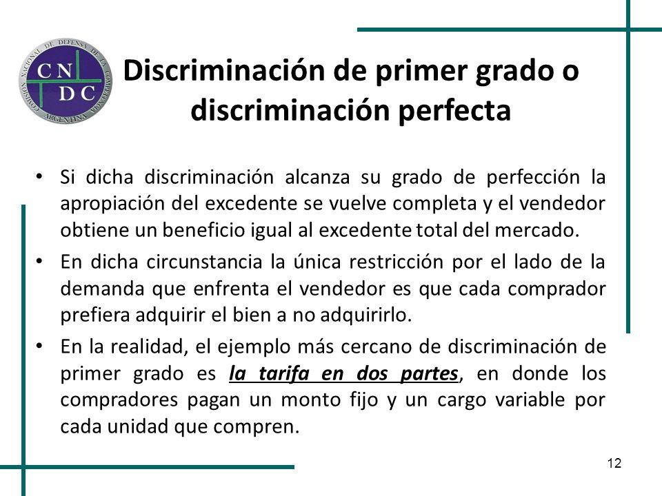 Discriminación de primer grado o discriminación perfecta