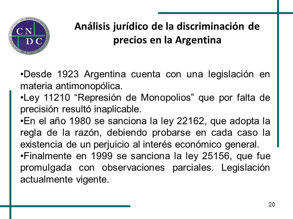 Análisis jurídico de la discriminación de precios en la Argentina