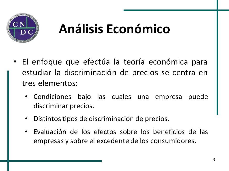 Análisis Económico El enfoque que efectúa la teoría económica para estudiar la discriminación de precios se centra en tres elementos: