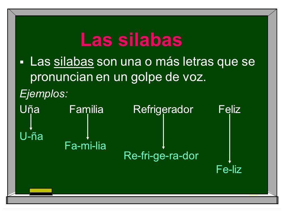 Las silabas Las silabas son una o más letras que se pronuncian en un golpe de voz. Ejemplos: Uña Familia Refrigerador Feliz.