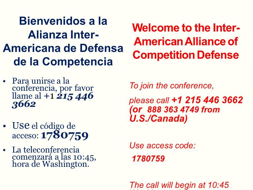 Bienvenidos a la Alianza Inter-Americana de Defensa de la Competencia