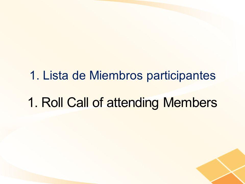 1. Lista de Miembros participantes