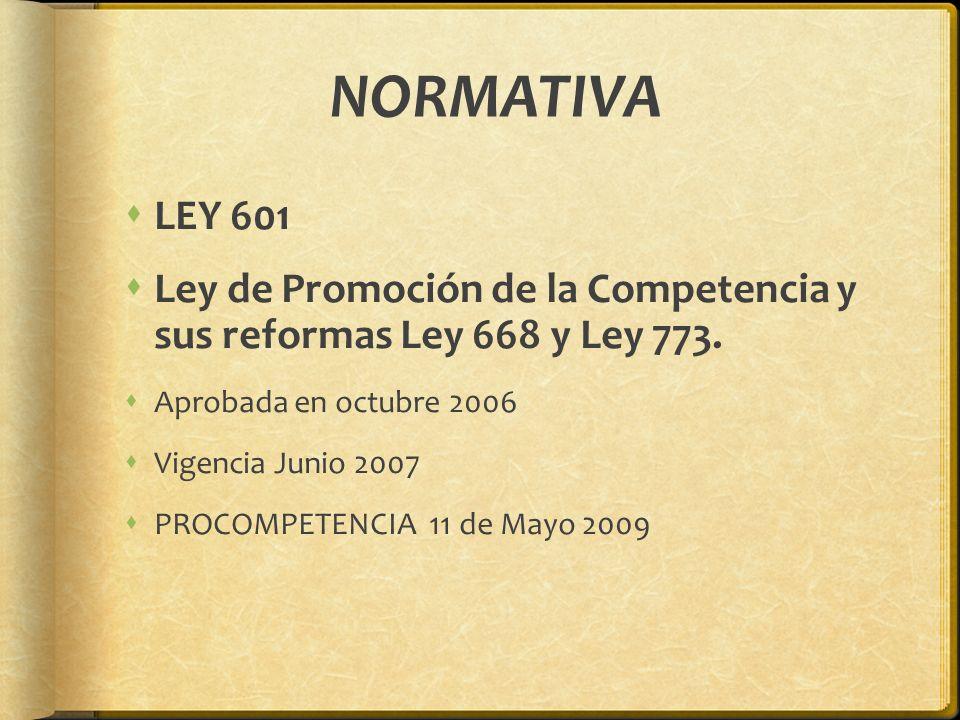 NORMATIVA LEY 601. Ley de Promoción de la Competencia y sus reformas Ley 668 y Ley 773. Aprobada en octubre 2006.