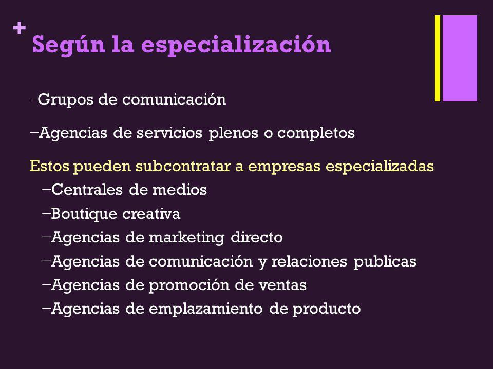Según la especialización