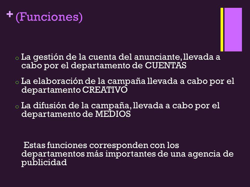 (Funciones) La gestión de la cuenta del anunciante, llevada a cabo por el departamento de CUENTAS.
