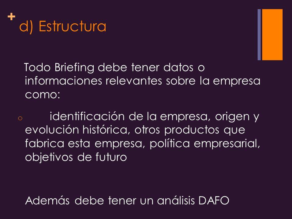 d) Estructura Todo Briefing debe tener datos o informaciones relevantes sobre la empresa como: