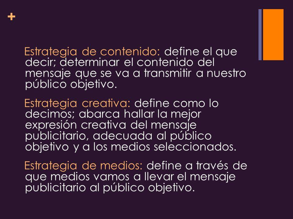Estrategia de contenido: define el que decir; determinar el contenido del mensaje que se va a transmitir a nuestro público objetivo.