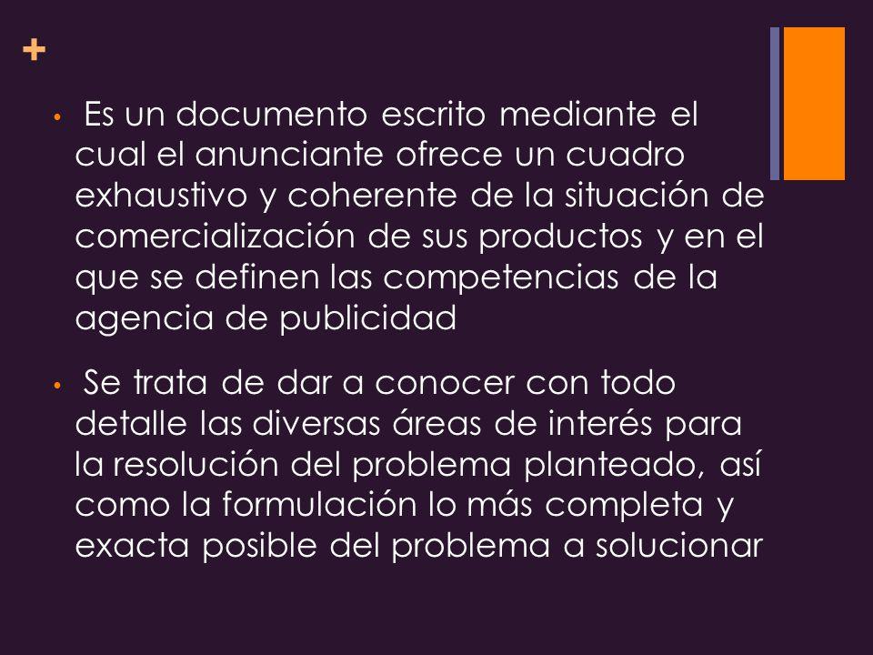 Es un documento escrito mediante el cual el anunciante ofrece un cuadro exhaustivo y coherente de la situación de comercialización de sus productos y en el que se definen las competencias de la agencia de publicidad