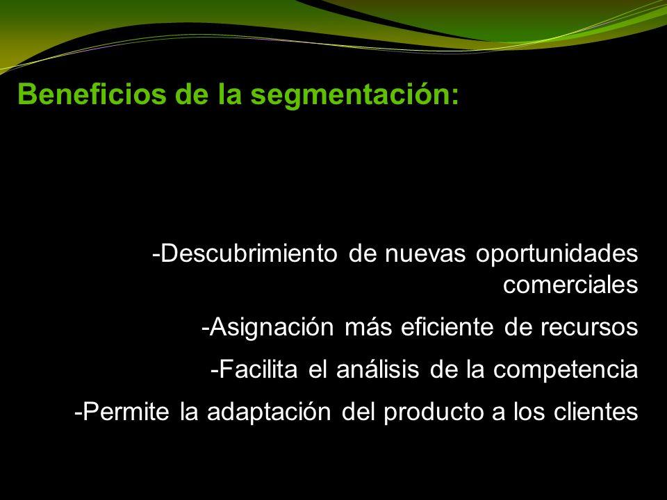 Beneficios de la segmentación: