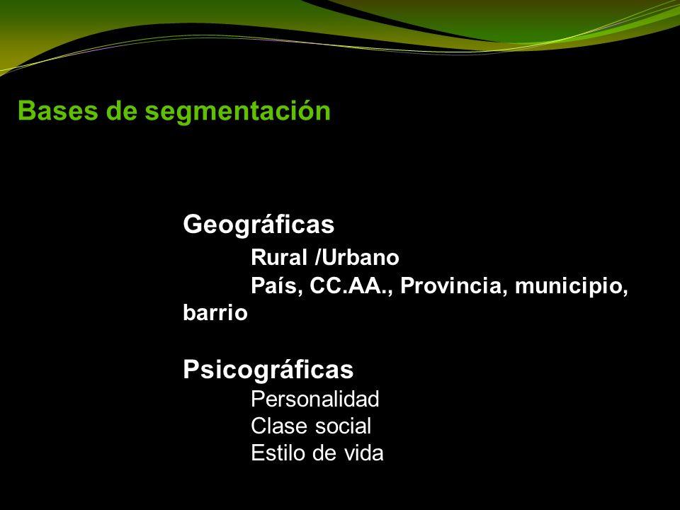 Bases de segmentación Geográficas Rural /Urbano País, CC.AA., Provincia, municipio, barrio.