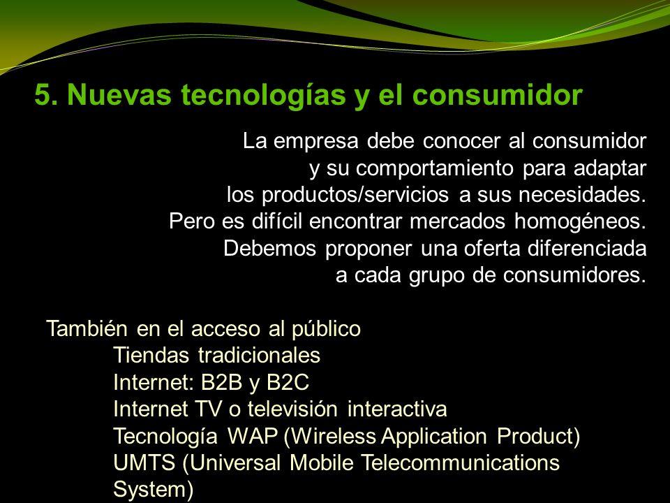 5. Nuevas tecnologías y el consumidor