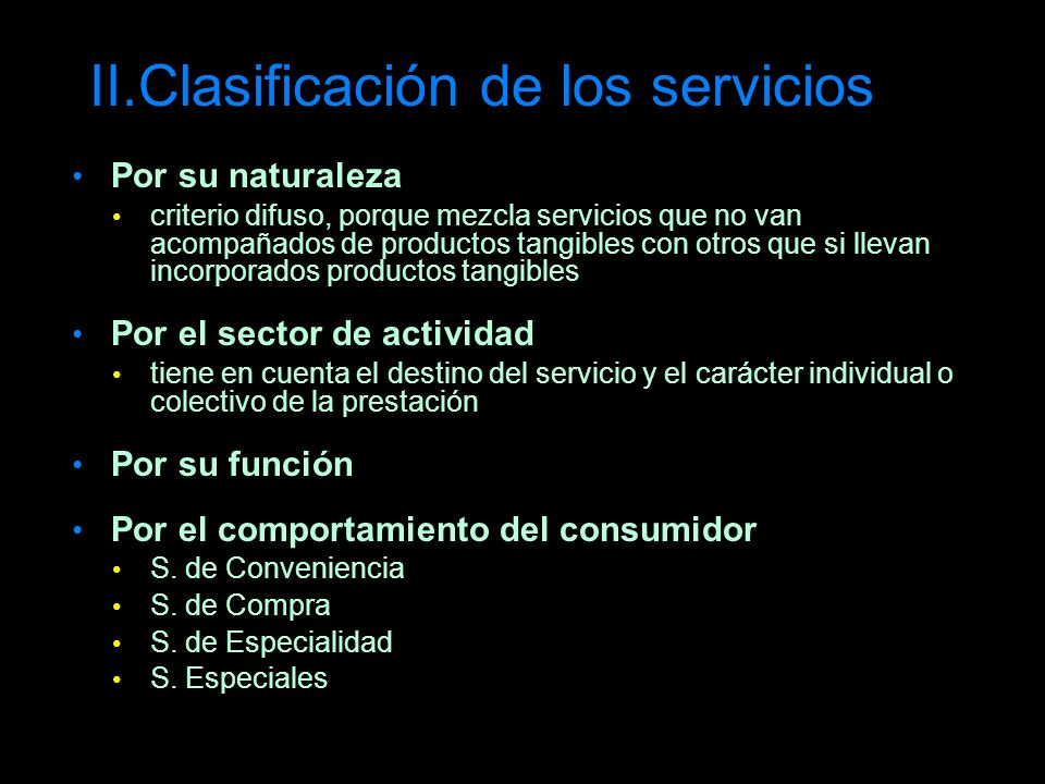 II.Clasificación de los servicios