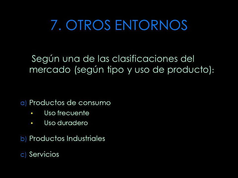 7. OTROS ENTORNOS Según una de las clasificaciones del mercado (según tipo y uso de producto): Productos de consumo.