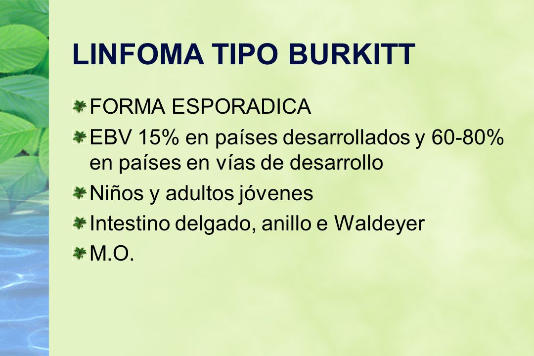 LINFOMA TIPO BURKITT FORMA ESPORADICA