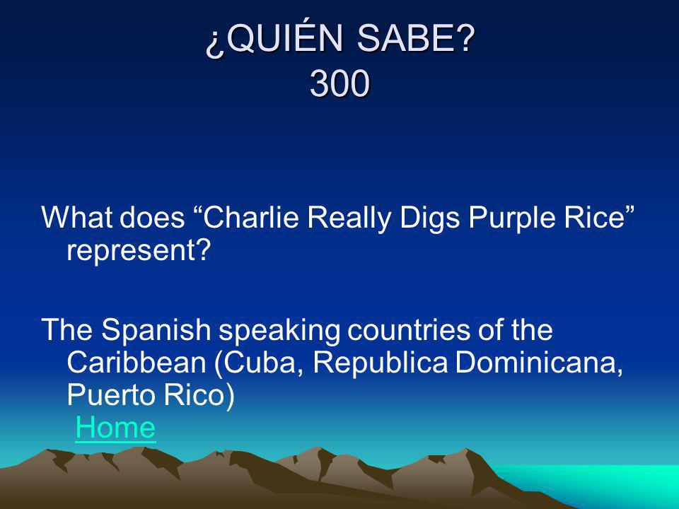 ¿QUIÉN SABE 300 What does Charlie Really Digs Purple Rice represent