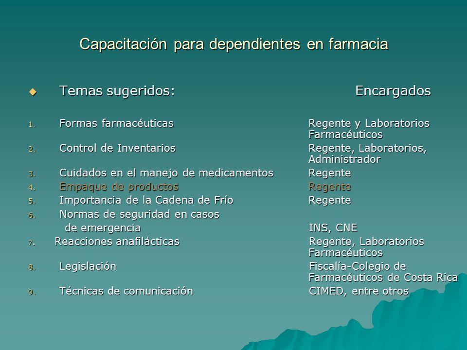 Capacitación para dependientes en farmacia