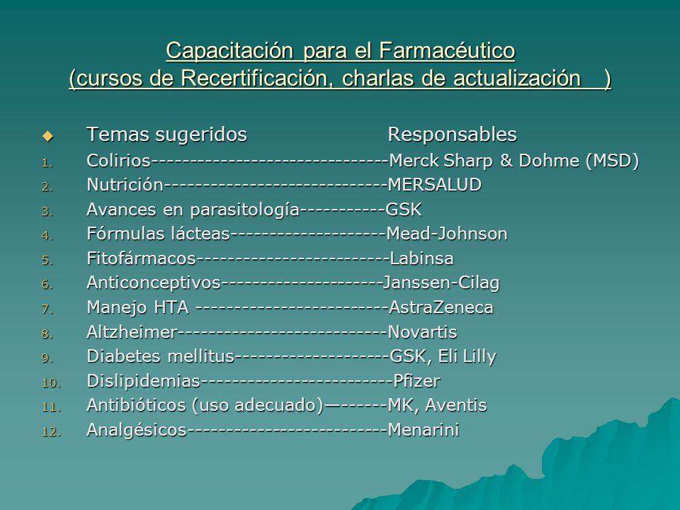Capacitación para el Farmacéutico (cursos de Recertificación, charlas de actualización )