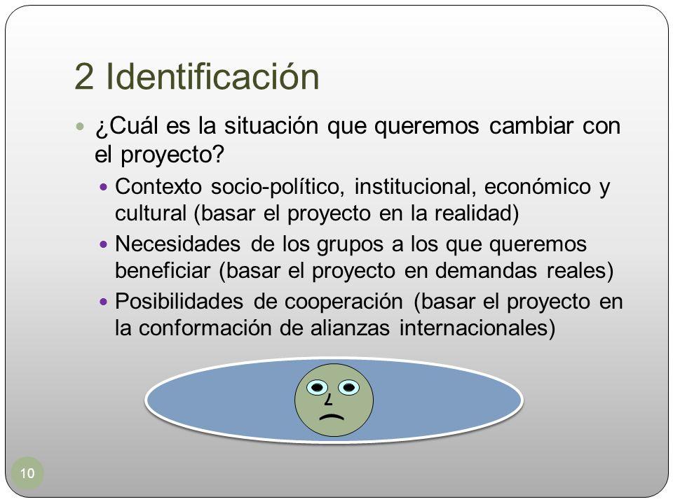 2 Identificación ¿Cuál es la situación que queremos cambiar con el proyecto