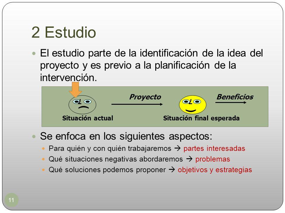 2 Estudio El estudio parte de la identificación de la idea del proyecto y es previo a la planificación de la intervención.